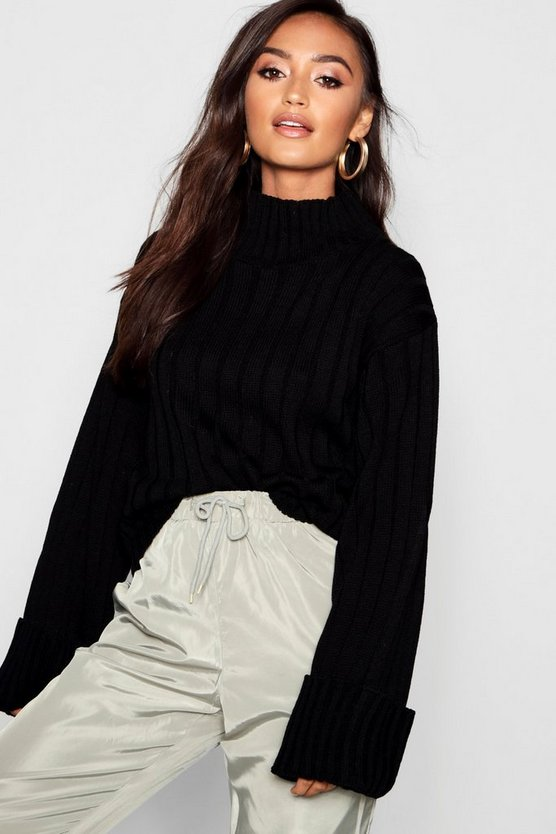 Petite Rib Knit High Neck Jumper
