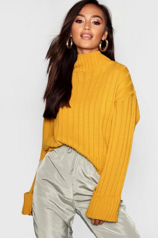 Petite Rib Knit High Neck Jumper by Boohoo