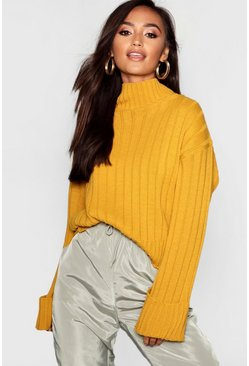 Womens Mustard Petite Rib Knit High Neck Jumper