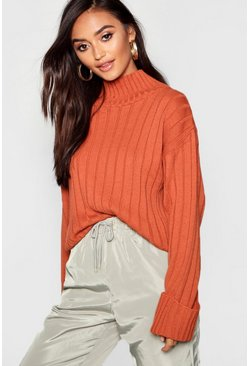 Rust Petite Rib Knit High Neck Sweater