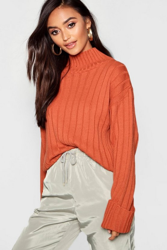 Petite Rib Knit High Neck Sweater