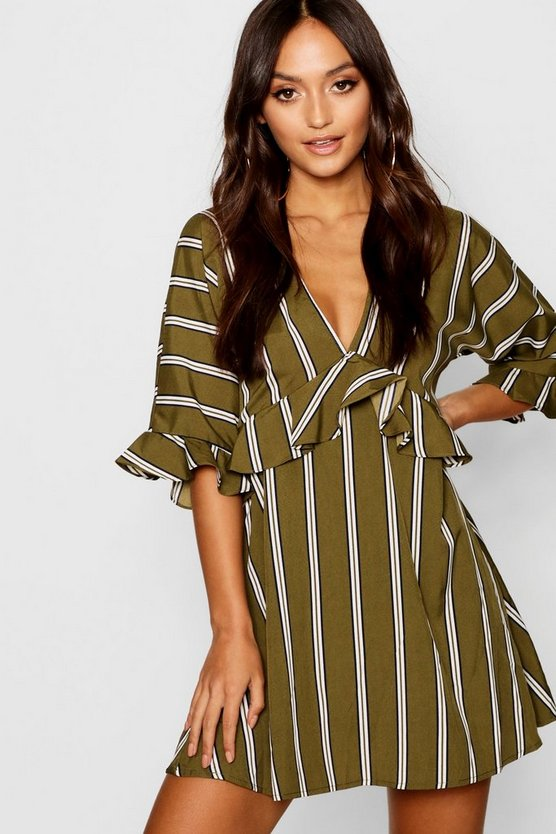 Petite Stripe Plunge Ruffle Skater Dress