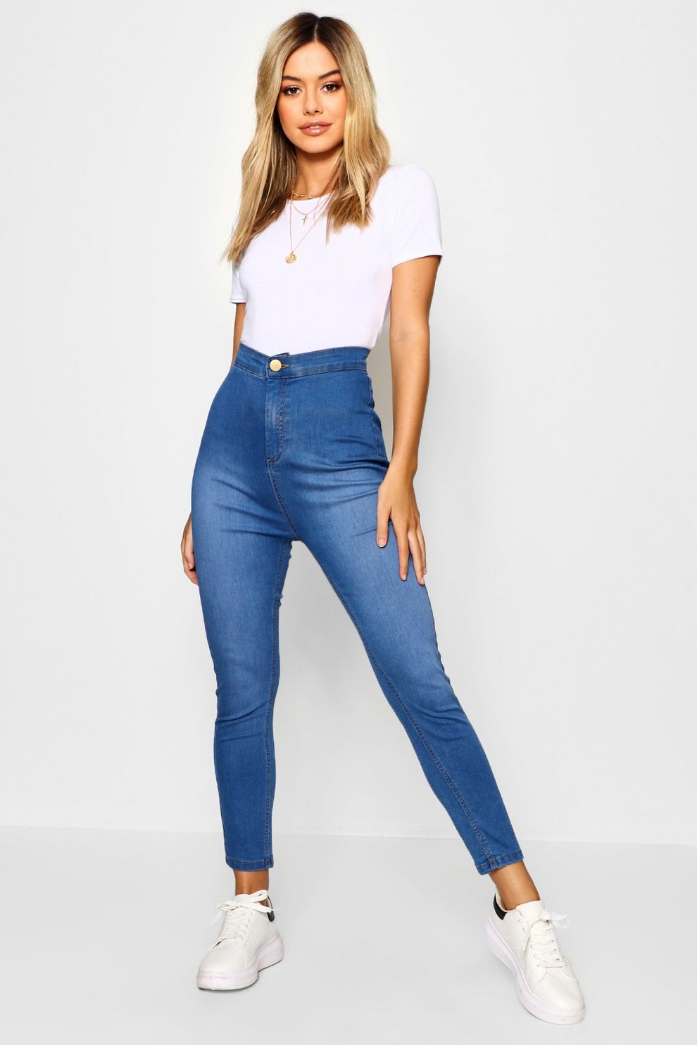 154dbd8dc4b2 Petite High Rise One Button Skinny Jeans | Boohoo