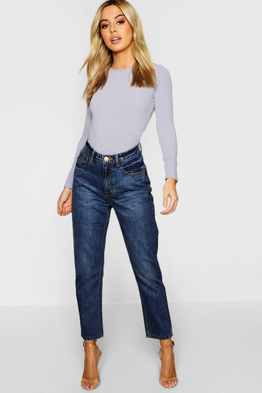 Petite Mid Wash Mom Jeans