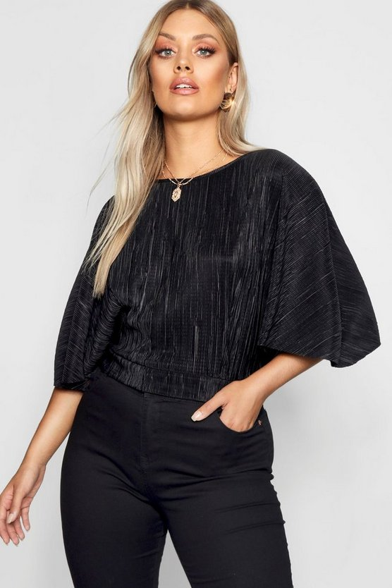 Plus Pleated Batwing Top