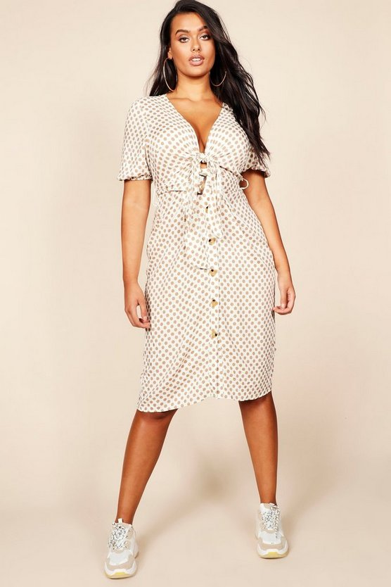 Plus Tie Front Blouson Sleeve Button Midi Dress