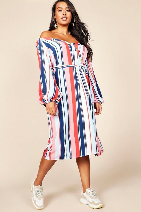 Plus Asymmetric Button Detail Stripe Midi Dress