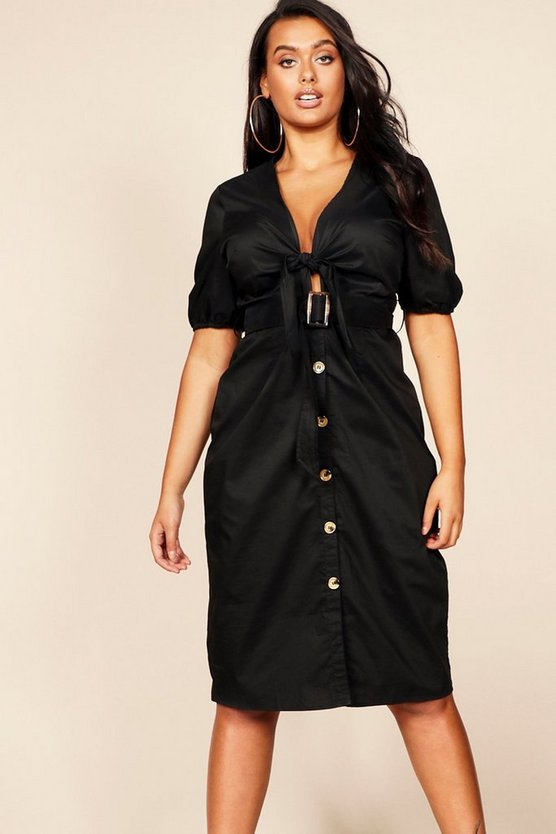 Womens Black Plus Tie Front Blouson Sleeve Button Midi Dress