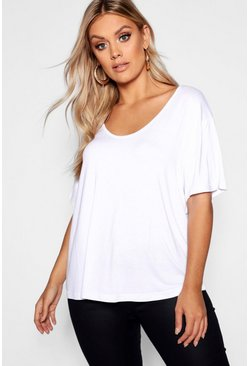 Plus t-shirt basic oversize super morbida, Bianco