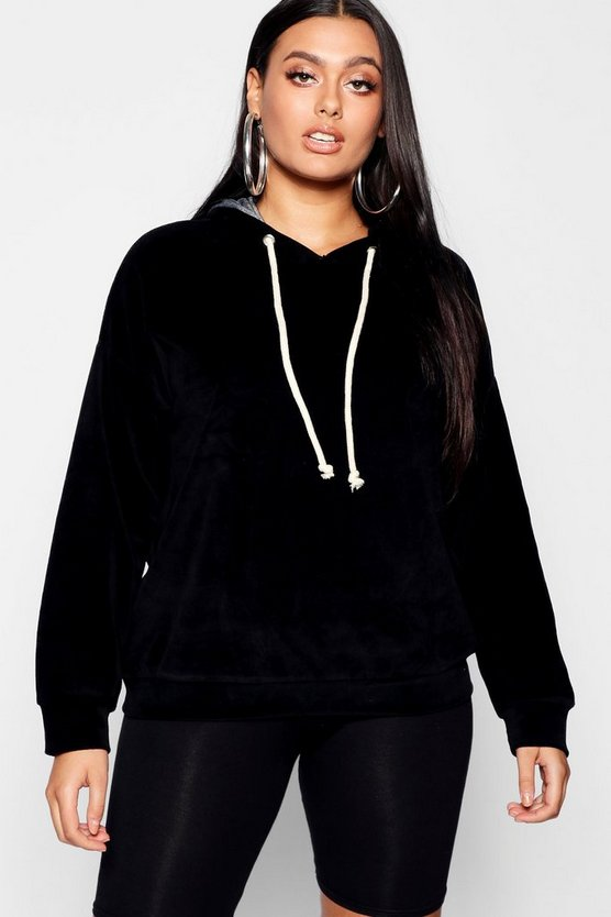 Womens Black Plus Velour Hooded Oversized Sweat