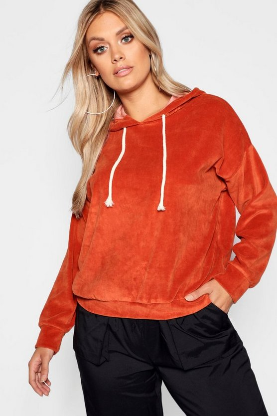 Plus Velour Hooded Oversized Sweat