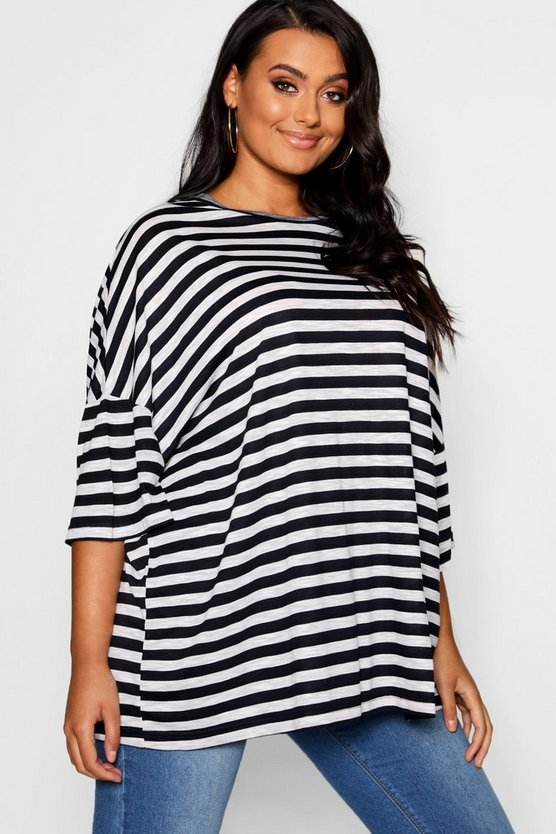 Plus Stripe Oversized T-Shirt