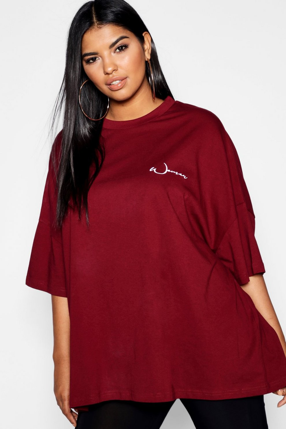 868fa8bbb01 Womens Burgundy Plus Woman Embroidered Oversized T-Shirt