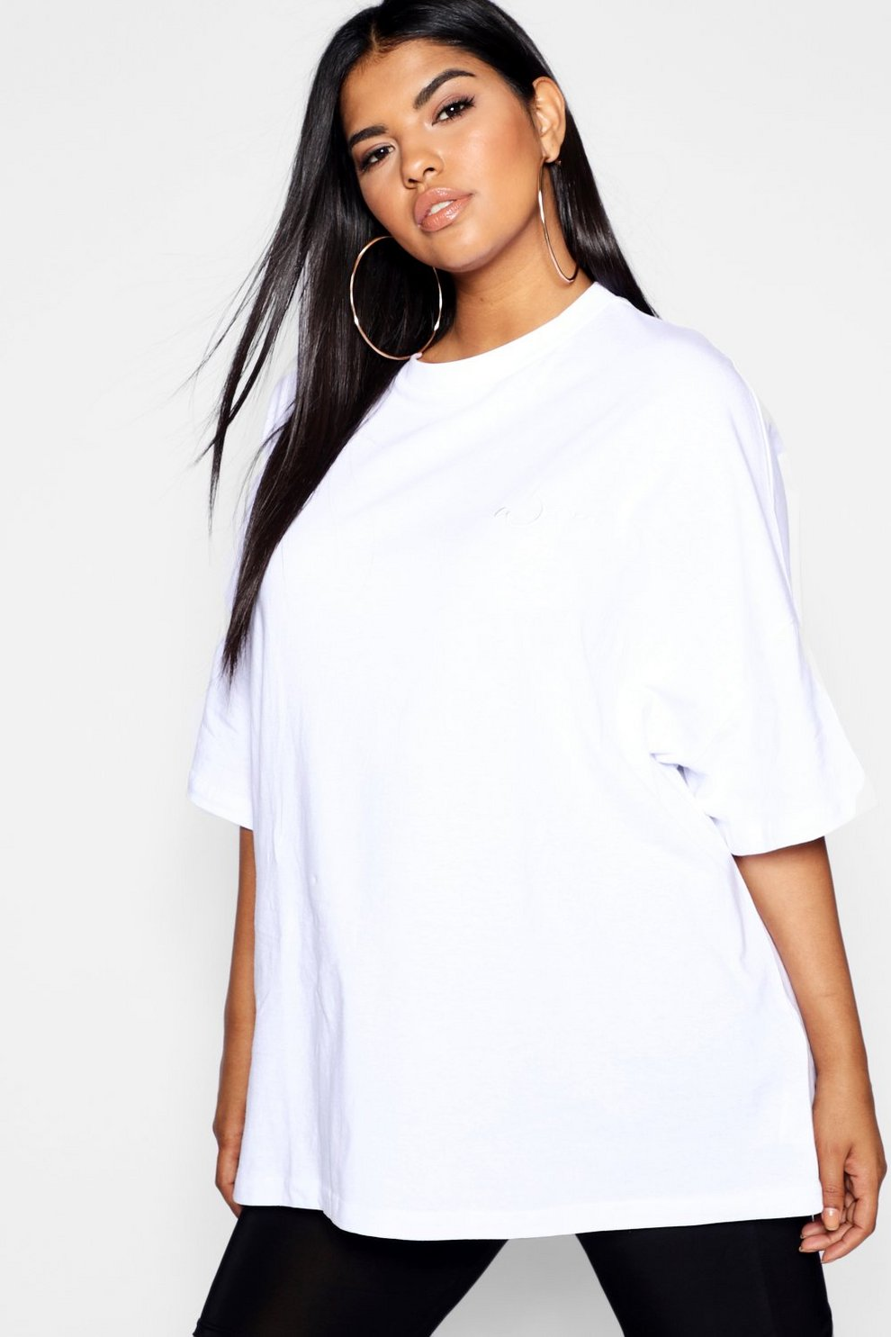 0993e0e8b18 Womens White Plus Woman Embroidered Oversized T-Shirt