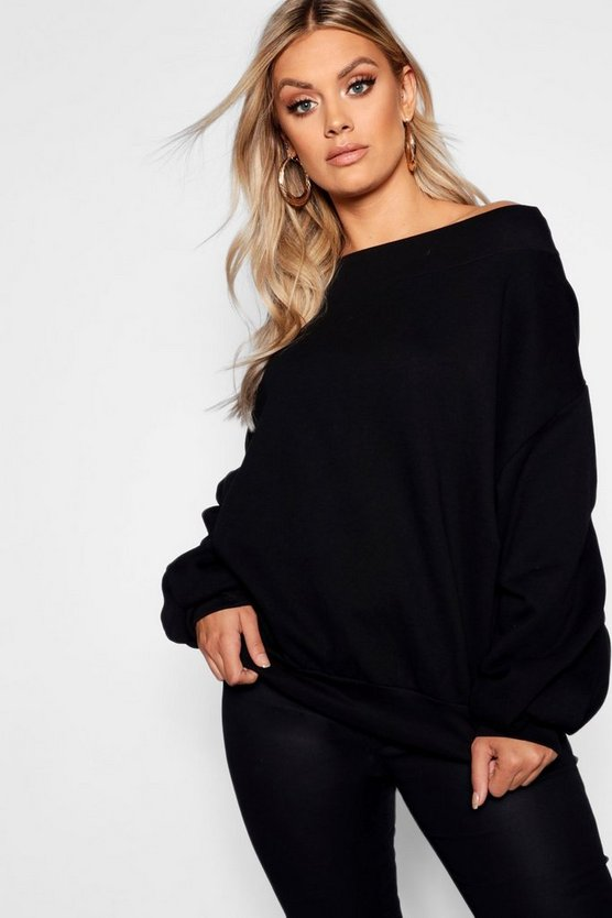 Plus Slash Neck Balloon Sleeve Sweat Sweater