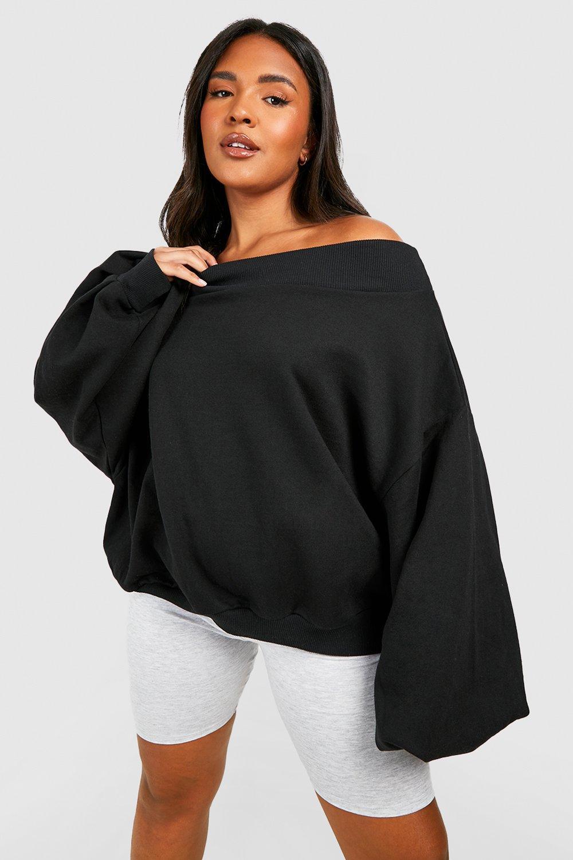 Plus Slash Neck Balloon Sleeve Sweat Sweater 8