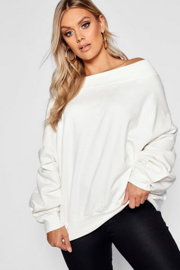 Ecru Plus Slash Neck Balloon Sleeve Sweat Jumper