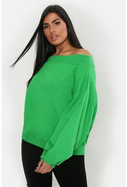 Womens Lime Plus Slash Neck Balloon Sleeve Sweat Sweater