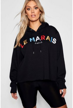 Womens Black Plus French Slogan Hooded Sweat