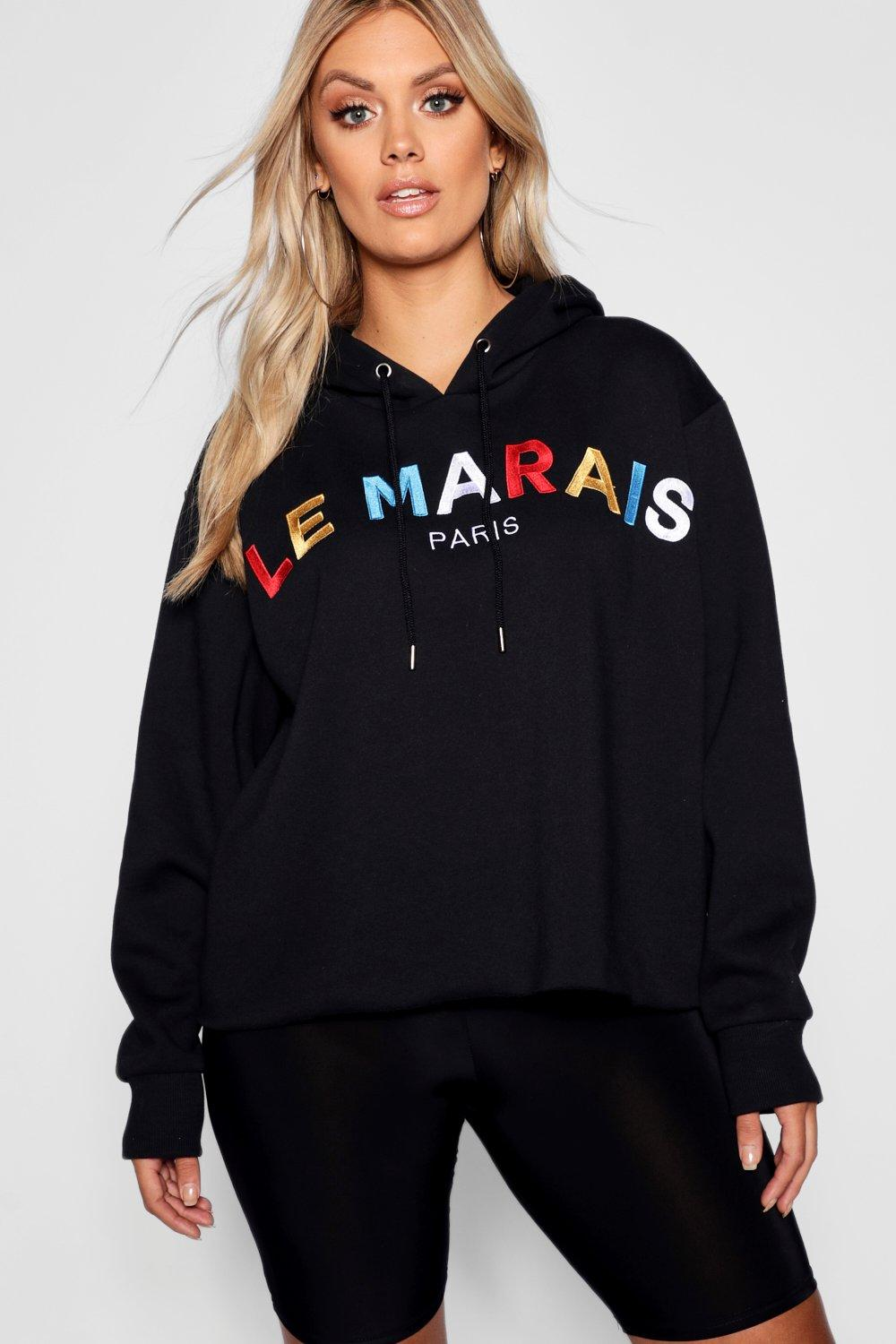 Hooded French Sweat black Slogan Plus 4qSxR8pE