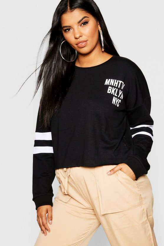 Womens Black Plus Slogan Stripe Sleeve Sweat