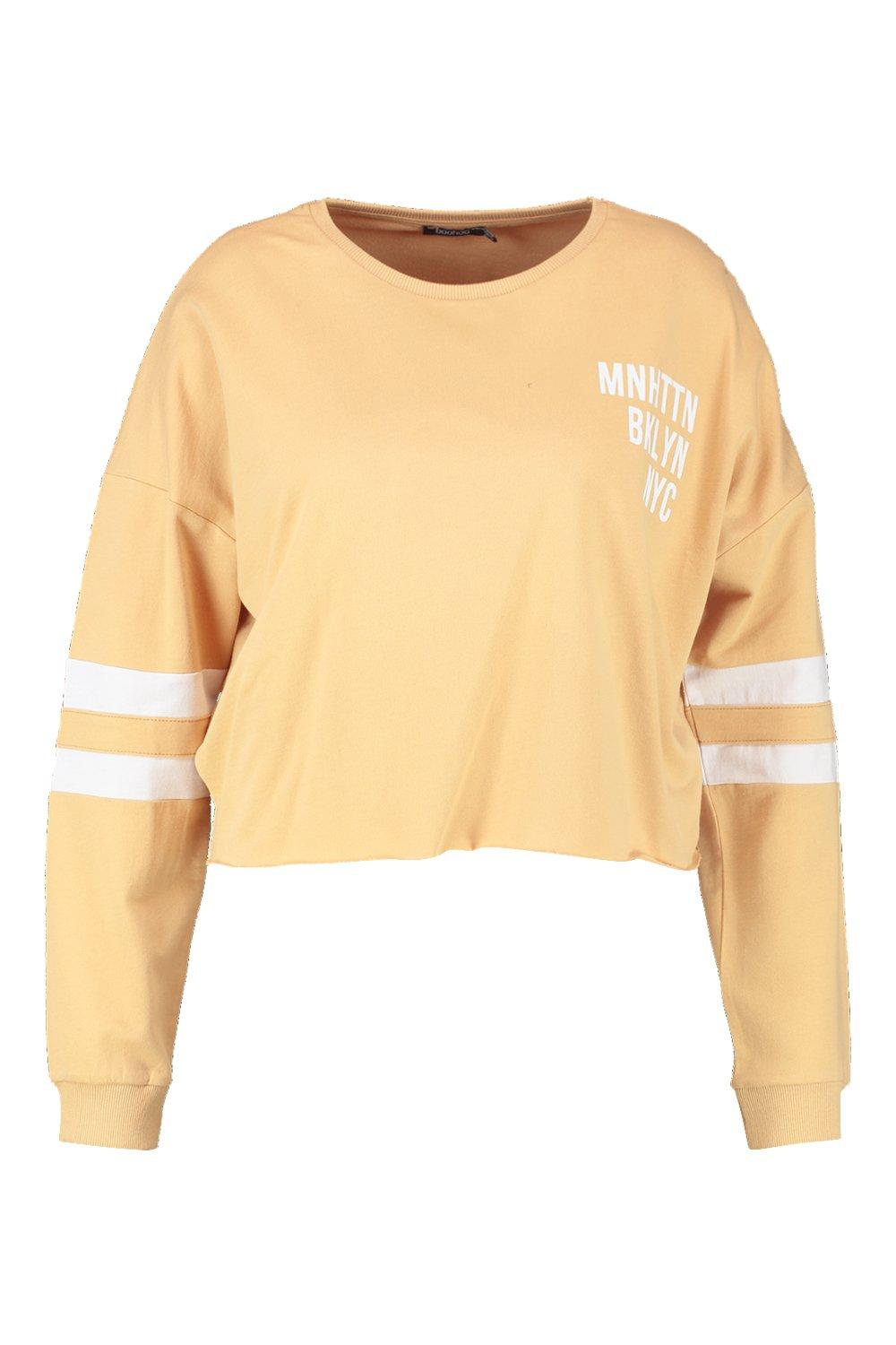Sweat mustard Slogan Sleeve Stripe Plus ItOxwTqUU
