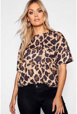 Dam Brown Plus - Oversize t-shirt med leopardmönster