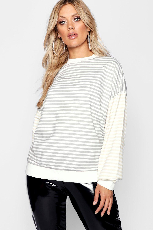 Sleeve Boyfriend Stripe Sweat Contrast grey Plus 0xgqTwq