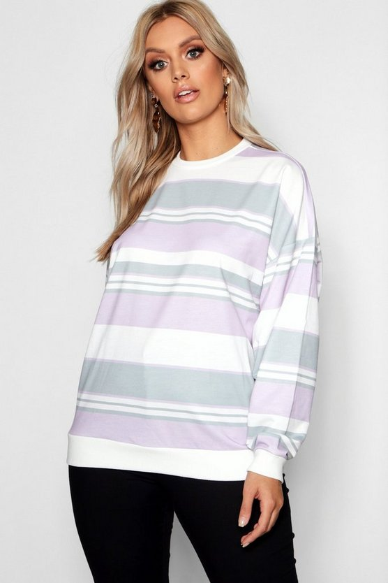 Womens Lilac Plus striped Oversized Boyfriend Sweat