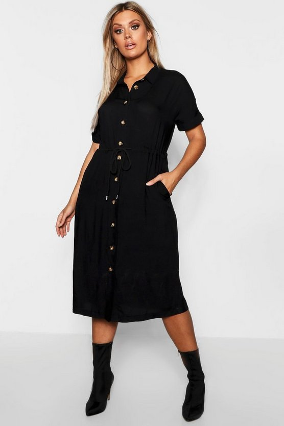 Womens Plus Drawstring Waist Button Shirt Midi Dress