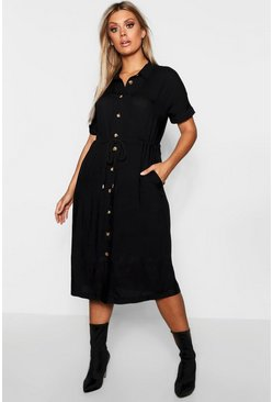 Womens Black Plus Drawstring Waist Button Shirt Midi Dress