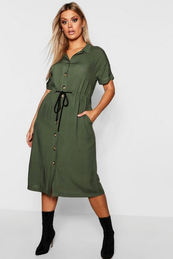 Plus Drawstring Waist Button Shirt Midi Dress