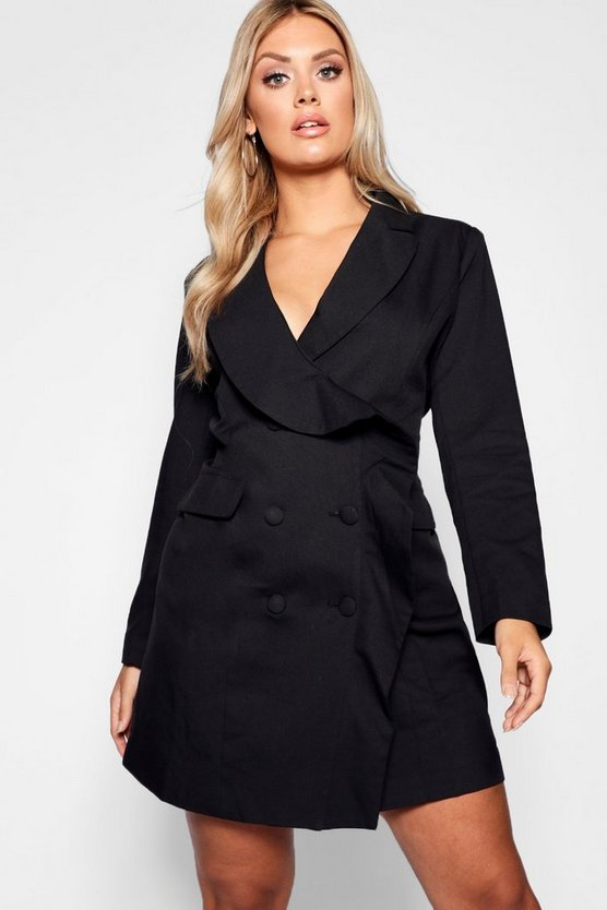 Plus Ruffle Detail Mini Blazer Dress
