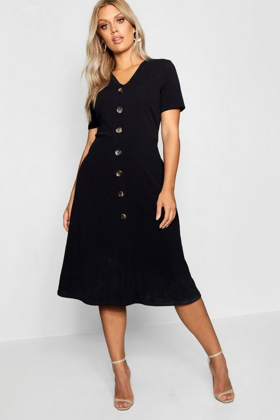 Womens Black Plus Button Front Midi Dress