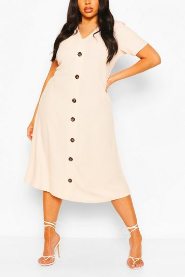 Blush Plus Button Front Midi Dress