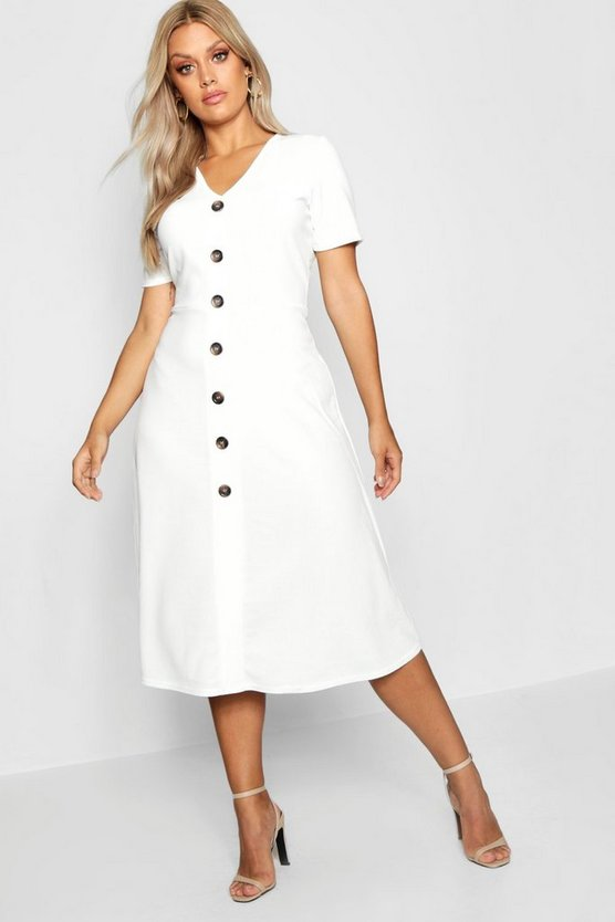 Womens Ivory Plus Button Front Midi Dress