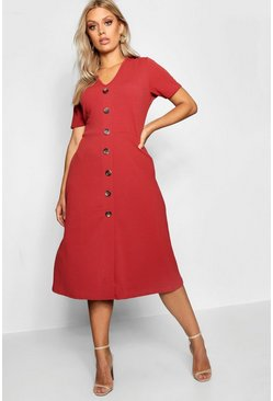 Womens Rust Plus Button Front Midi Dress
