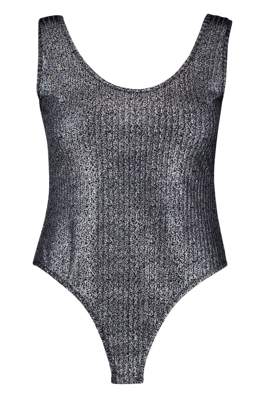 Metallic Rib Bodysuit Metallic black Plus black Rib Bodysuit Plus Zx7FgwqX