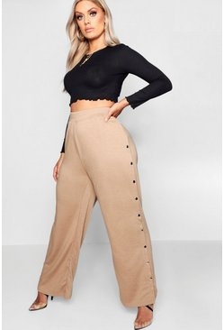 Womens Camel Plus Wide Leg Popper Detail Joggers