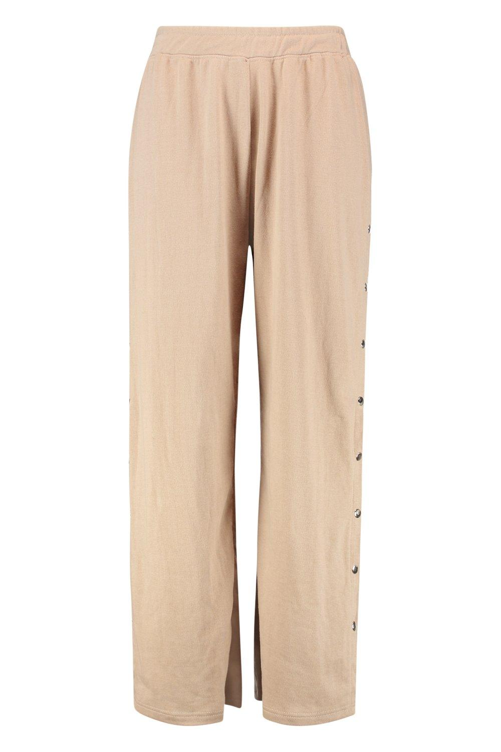 camel Popper Wide Joggers Detail Leg Plus qzXUAY