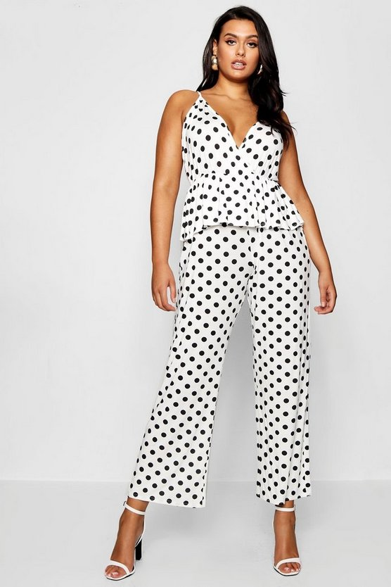 Plus Polka Dot Ruffle Wrap Jumpsuit