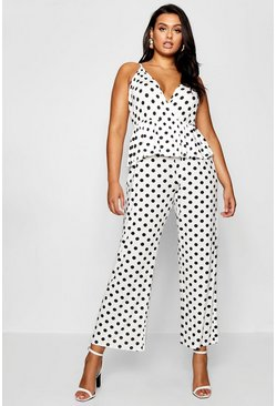 Womens Ivory Plus Polka Dot Ruffle Wrap Jumpsuit