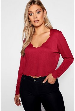 Womens Plus Scallop Sleeved Edge Top