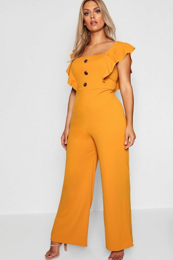 Plus Frill Horn Button Jumpsuit