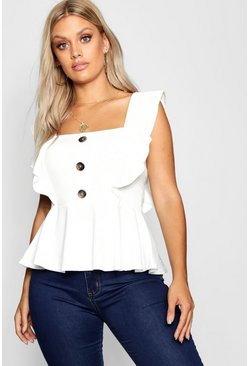 Womens Ivory Plus Frill Horn Button Top