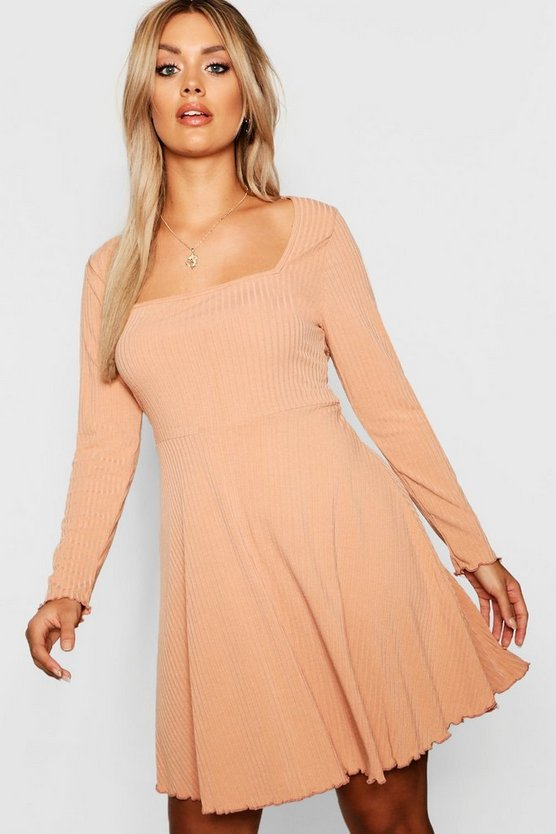 Plus Square Neck Ribbed Sleeved Skater Dress