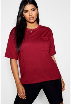 Womens Berry Plus Basic One Pocket T-Shirt