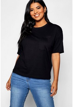 Womens Black Plus Basic One Pocket T-Shirt