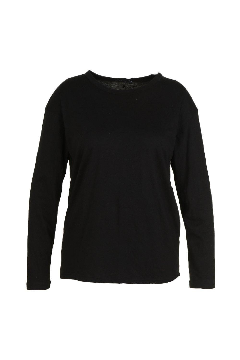 Basic Crew Neck black Plus Shirt Long Sleeve T Bxzdfwpq