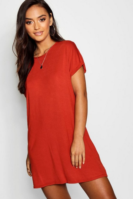 Petite Roll Up Sleeve T-Shirt Dress